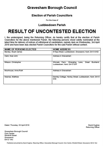 - * UPDATED * May 2019 Parish Council Elections